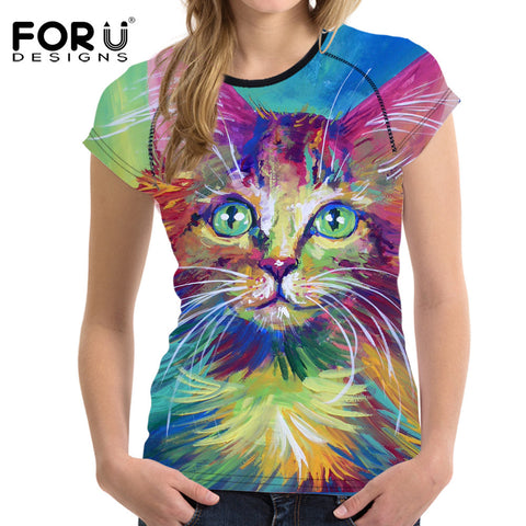 Colorful And Artistic Cat Print T-Shirts Or Customize Your Own Image - Cats Love Life