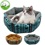 Winter Printed Plush Cat Bed - Cats Love Life