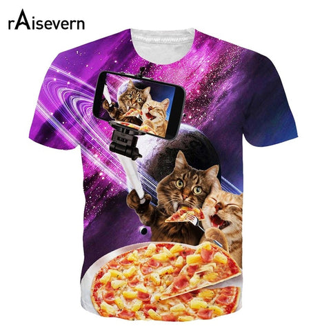 Cats Eating Pizza And Taking Selfies T-Shirt - Cats Love Life