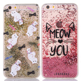 Glitter Rhinestone liquid Meow Cat Phone Case for iPhone 6s 6 plus 7 plus - Cats Love Life