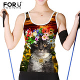 Floral Cats Tank Tops