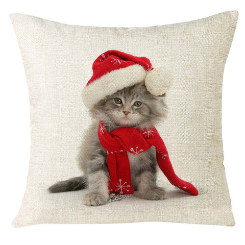 Christmas Kitty Pillow Case Cushion Cover - Cats Love Life