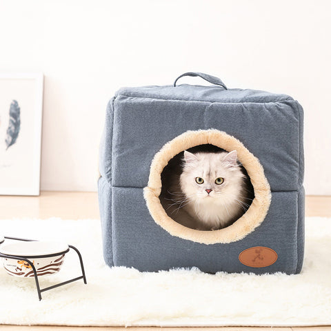 Cozy Corduroy Cave Cat Box Bed - Cats Love Life