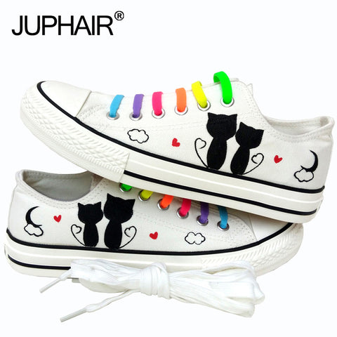 Black Flats Cartoon Cat Graffiti Lace-Up Kicks - Cats Love Life