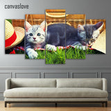 5 Piece Canvas Cats On Grass Painting With Or Without Frame - Cats Love Life