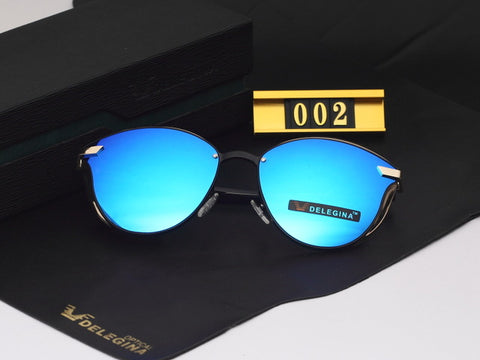 Delegina Polarized Cat Eye Mirror Sunglasses
