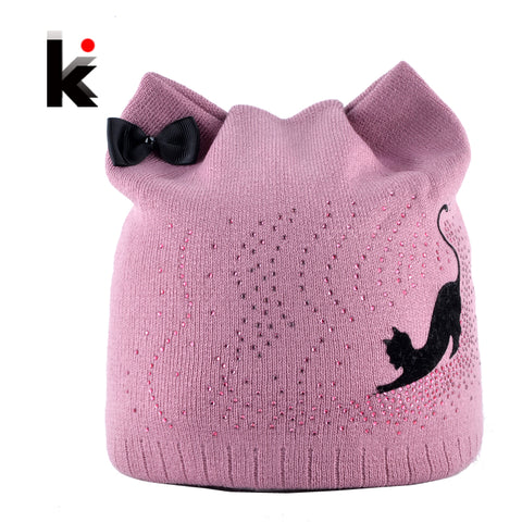 Black Cat Beanie Hat With Cat Ear Flaps And Rhinestones - Cats Love Life