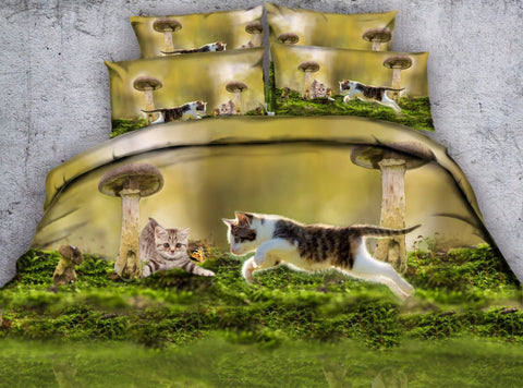 Kittens Jumping Over Mushrooms Bedding Set - Cats Love Life