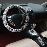 High Quality Soft 38cm Leopard Car Steering Wheel Covers+Handbrake Cover + Automatic Covers - Cats Love Life