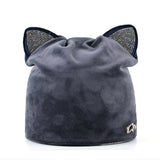 Rhinestone Cat Ears Beanie - Cats Love Life