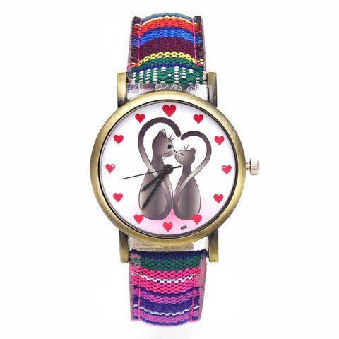 Two Cats Love Hearts Denim Colored Band Cat Watch - Cats Love Life