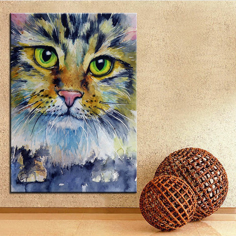 Close Up Cat Printed Oil Painting On Canvas - Cats Love Life