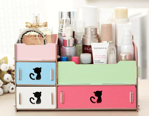 DIY Desktop Storage Cute Cat Display Boxes Organizer In Many Colors