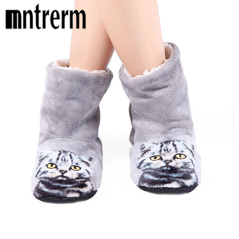 Plush And Cozy Cat Print Slippers - Cats Love Life