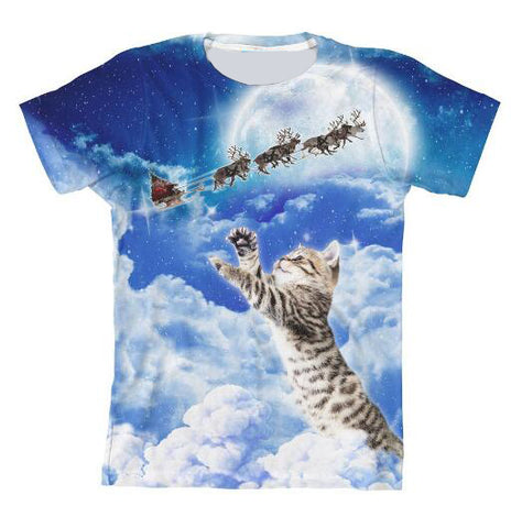Meowy Christmas Cat Clouds And Reindeer Cat T-Shirt - Cats Love Life