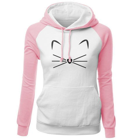Meow Face Hoodie Sweat Shirt - Cats Love Life