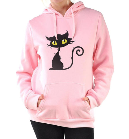 Fleece Pullover Cute Kitty Hoodie - Cats Love Life