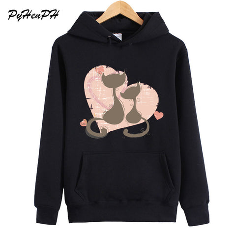 Cats In Love Fleece Hoodie Sweatshirt - Cats Love Life