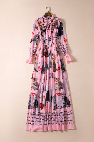 Cute Pink Summer Dress With Cats And Hearts