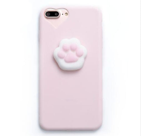 Cat Paw Pink Heart Soft Silicone Case For iPhone X 6 6S 7 7 8 Plus