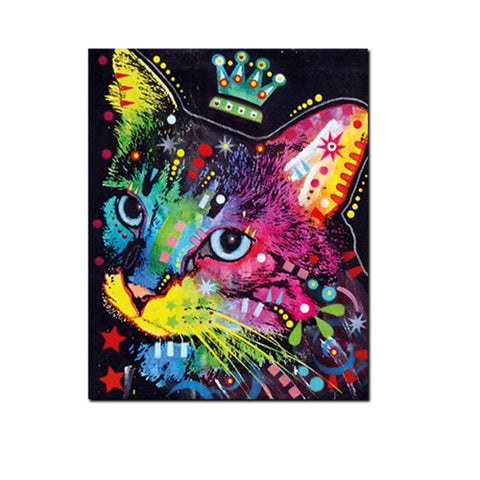 Abstract Colorful Cat Painting Unframed