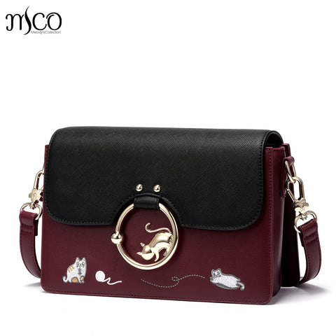 Designer Lovely Cat Embroidery PU Leather Handbag - Cats Love Life