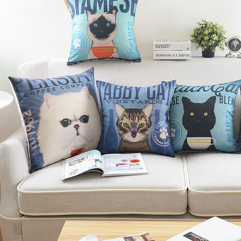 Cats Love Coffee And Wine Pillow Cushion Covers