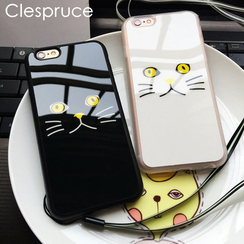 Black White Cat Face Soft Case For iPhone 7 8 6 6S Plus SE 5 5S - Cats Love Life