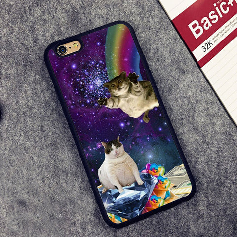 Space Rainbows And Cats CaseFor iPhone 6 6S Plus 7 7 Plus 5 5S 5C SE 4 4S - Cats Love Life