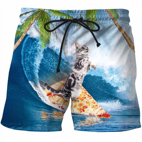 Surfing On Pizza Cat Drawstring Beach Shorts - Cats Love Life