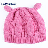 Knitted Wool Beanie Cat Ears - Cats Love Life