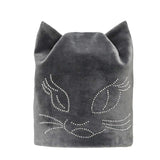 Flannel Cat Ears Beanie Hat With Rhinestone Designs - Cats Love Life