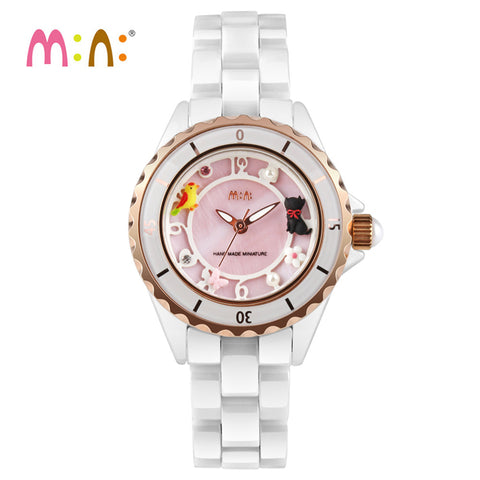 Waterproof Ceramic Cat And Bird Quartz Cat Watch - Cats Love Life