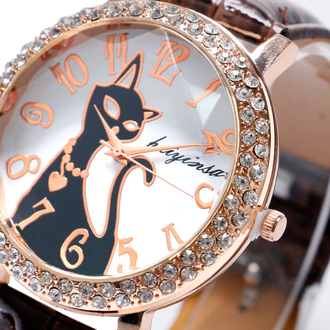 Elegant Crystal Cat Watch