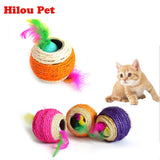 Scratch Ball With Ball And Feather Inside Cat Toy - Cats Love Life