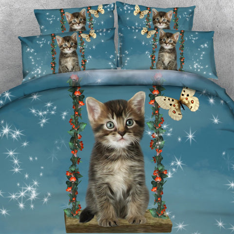 Cute Little Cat On A Swing Bedding Set - Cats Love Life