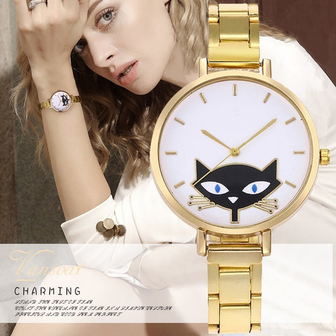 Luxury Women's Cat Watch Thin Belt Stainless Steel Quartz - Cats Love Life