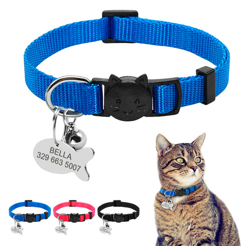 Quick Release Cat Collar Personalized  Breakaway Safety Collar With Engraved Fish ID Tag - Cats Love Life