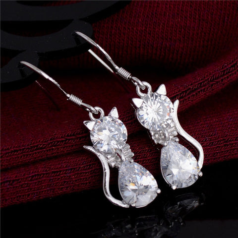 Cute Cat Crystal Charm Earrings