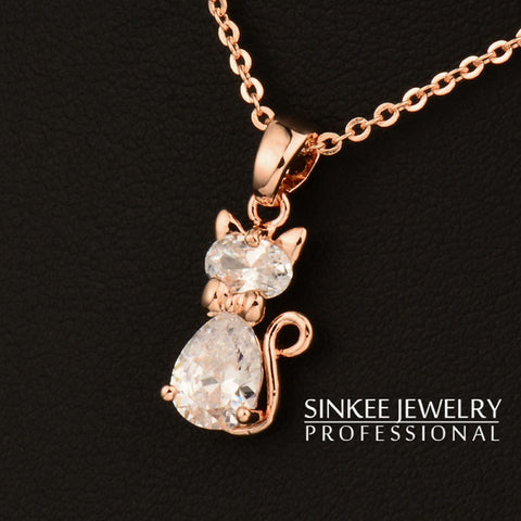 White Cubic Zircon Cat Pendant