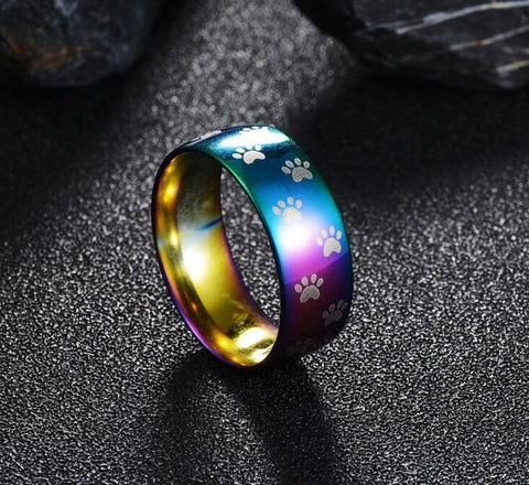 Cute Cat Paw Ring Stainless Steel Rainbow