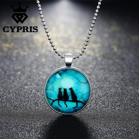 Luminous Round Glass Three Cat Pendant