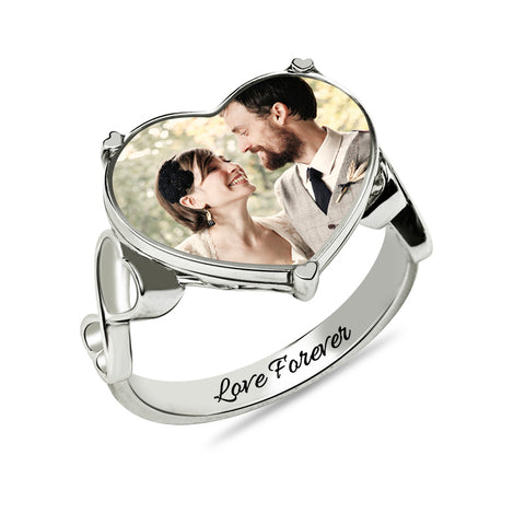 Custom Photo Engraved Heart Ring - Cats Love Life