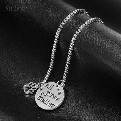 "Pet Lovers Rescue Jewelry Inspirational Message ""All Paws Matter"" Pendant"
