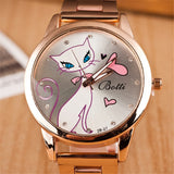 Pretty Kitty Stainless Steel Quartz Rose Gold Cat Watch - Cats Love Life