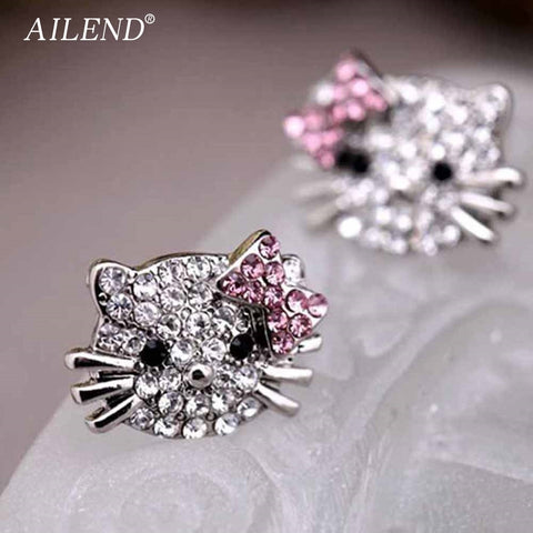 Silver Plated Small Cute Hello Kitty Earrings