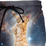 Ginger Cat In Space Standing On Bacon Swimsuit Shorts