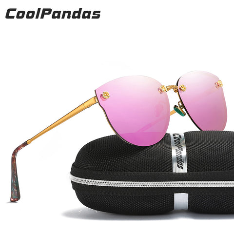 Luxury Designer Polarized  Cat Eye Sunglasses Classic Pink Mirror And Other Colors