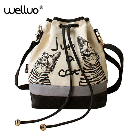 Just A Cat Canvas Bucket Bag