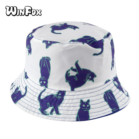 Summer Reversible White Blue Cat Print Fisherman Bucket Hats For Women